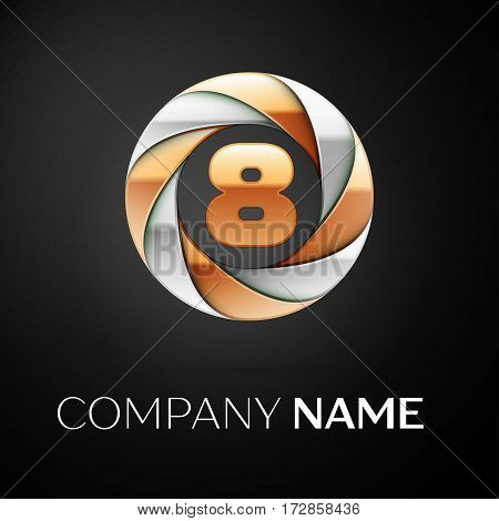 Number eight vector logo symbol in the colorful circle on black background. Vector template for your design