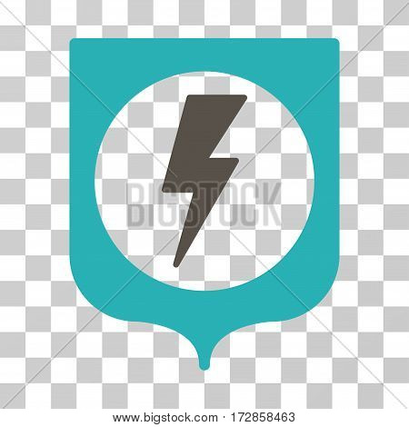 Electric Protection vector pictograph. Illustration style is flat iconic bicolor grey and cyan symbol on a transparent background.