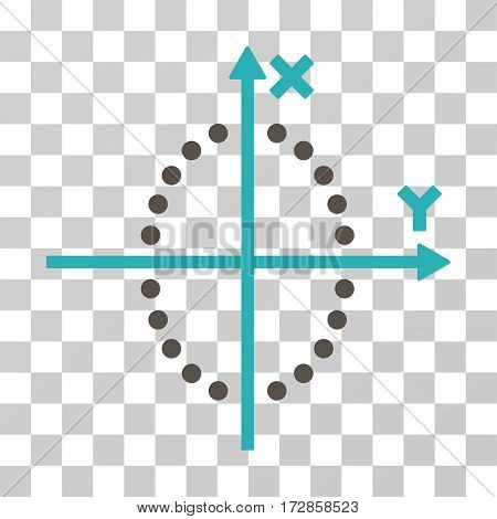 Ellipse Plot vector pictograph. Illustration style is flat iconic bicolor grey and cyan symbol on a transparent background.