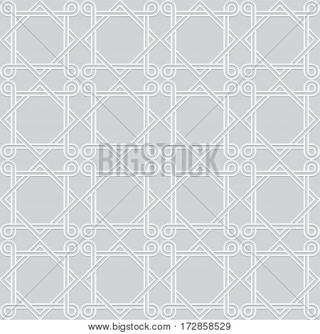 Interweaving White Geometric Pattern. Interlacing Seamless Vector Background.