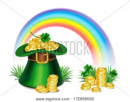 St. Patrick's Day green leprechaun hat with clover gold coins and rainbow St.Patrick's Day symbol. St.Patrick's Day background. Vector illustration