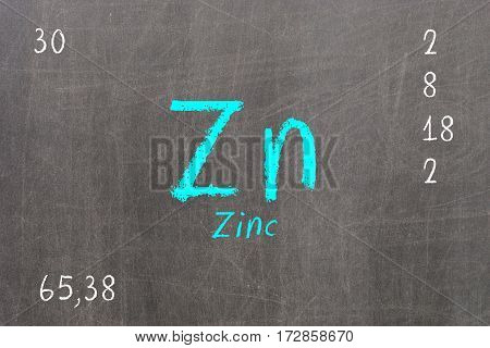 Isolated Blackboard With Periodic Table, Zinc