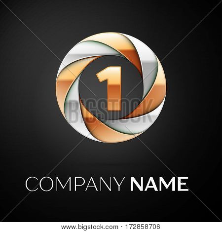 Number one vector logo symbol in the colorful circle on black background. Vector template for your design