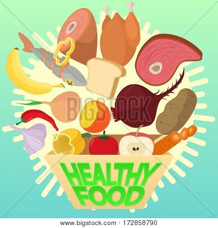 Food cooking lunch concept dishes. Cartoon illustration of food cooking lunch vector concept for web