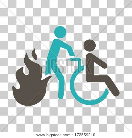 Fire Patient Evacuation vector pictogram. Illustration style is flat iconic bicolor grey and cyan symbol on a transparent background.