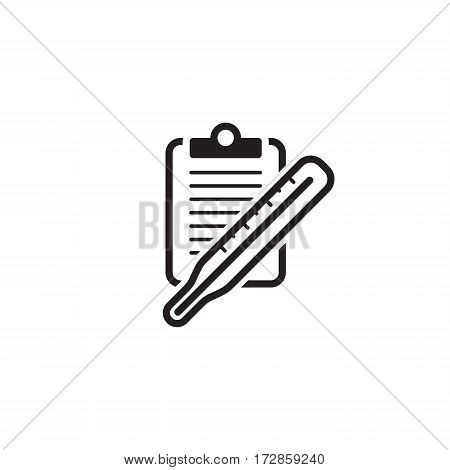 Thermometer and Medical Services Icon. Flat Design. Isolated.