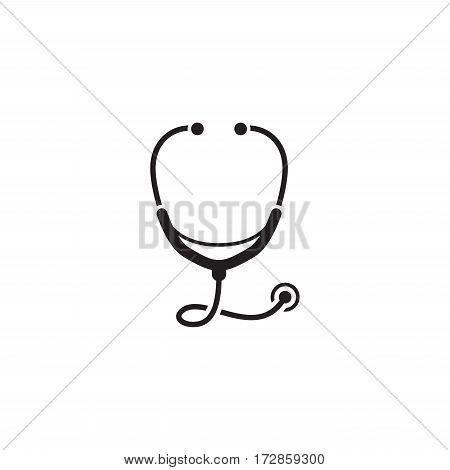 Stethoscope and Medical Services Icon. Flat Design. Isolated.