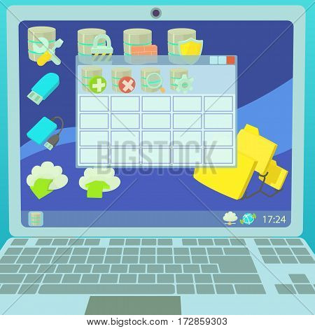 Data base concept laptop. Cartoon illustration of data base vector concept for web