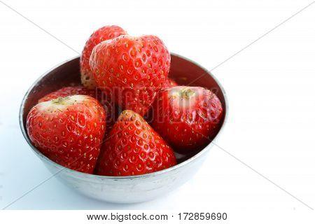close up fresh strawberry isolation on white background