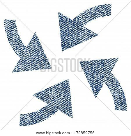 Cyclone Arrows vector textured icon for overlay watermark stamps. Blue jeans fabric vectorized texture. Symbol with unclean design. Blue ink rubber seal stamp with fiber textile structure.