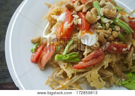 this is thaifoods mixed vegetable hot and spicy delicious