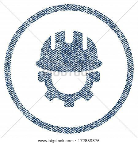 Development Hardhat vector textured icon for overlay watermark stamps. Blue jeans fabric vectorized texture. Symbol with scratched design. Blue ink rubber seal stamp with fiber textile structure.