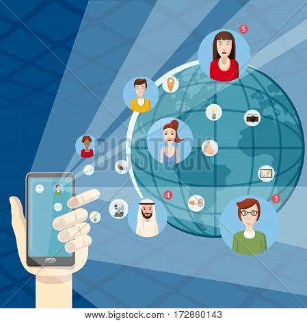 Marketing technology concept mobile. Cartoon illustration of marketing technology vector concept for web