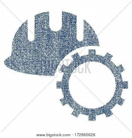 Development Hardhat vector textured icon for overlay watermark stamps. Blue jeans fabric vectorized texture. Symbol with dirty design. Blue ink rubber seal stamp with fiber textile structure.