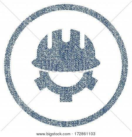 Development Helmet vector textured icon for overlay watermark stamps. Blue jeans fabric vectorized texture. Symbol with dust design. Blue ink rubber seal stamp with fiber textile structure.