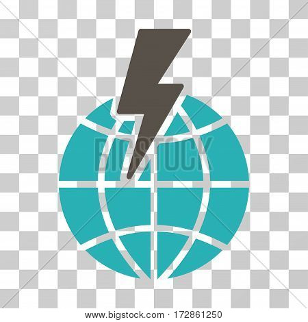 Global Shock vector pictogram. Illustration style is flat iconic bicolor grey and cyan symbol on a transparent background.