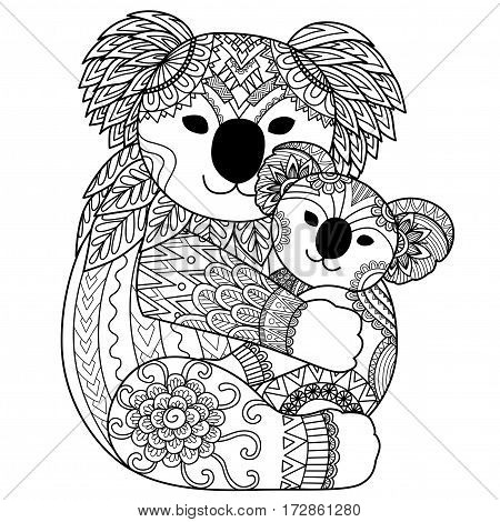 Zendoodle design of Koala mother cuddling her baby for T-Shirt design, tattoo, adult coloring book and other design element