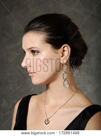 beautiful woman in silver jewelry
