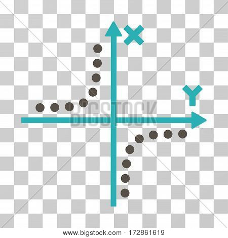 Hyperbola Plot vector pictogram. Illustration style is flat iconic bicolor grey and cyan symbol on a transparent background.
