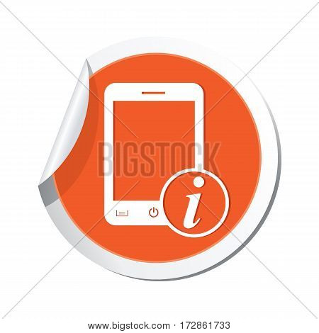 Phone with information icon on the sticker. Vector illustration