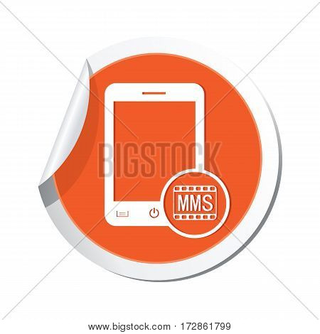 Phone with mms menu icon on the sticker. Vector illustration