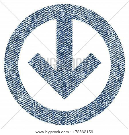 Direction Down vector textured icon for overlay watermark stamps. Blue jeans fabric vectorized texture. Symbol with dirty design. Blue ink rubber seal stamp with fiber textile structure.