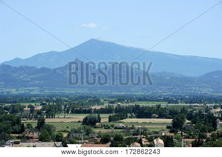 Orange France - 26 June 2012: View of the Mount Ventoux Vaucluse France