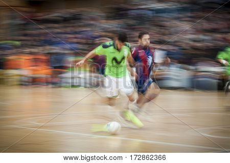 VALENCIA, SPAIN - FEBRUARY 19: (L) Taffy during Spanish league match between Levante UD FS and Movistar Inter at Cabanyal Stadium on February 19, 2017 in Valencia, Spain