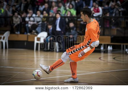 VALENCIA, SPAIN - FEBRUARY 19: Alex Gonzalez during Spanish league match between Levante UD FS and Movistar Inter at Cabanyal Stadium on February 19, 2017 in Valencia, Spain