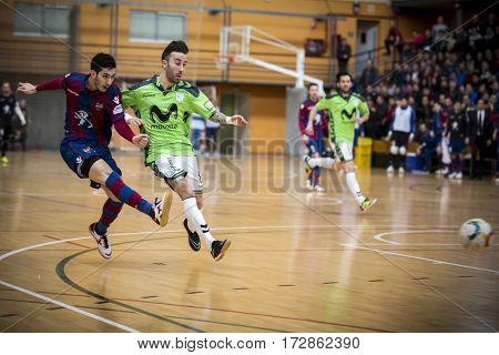 VALENCIA, SPAIN - FEBRUARY 19: (L) Tripodi and Rivillos during Spanish league match between Levante UD FS and Movistar Inter at Cabanyal Stadium on February 19, 2017 in Valencia, Spain