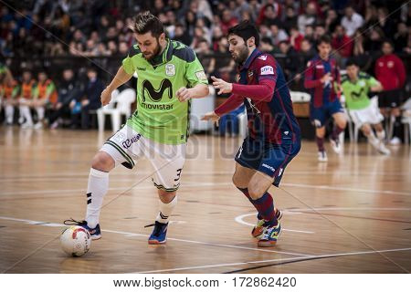 VALENCIA, SPAIN - FEBRUARY 19: (L) Gadeia, (R) Lucho during Spanish league match between Levante UD FS and Movistar Inter at Cabanyal Stadium on February 19, 2017 in Valencia, Spain