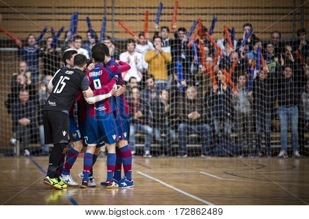 VALENCIA, SPAIN - FEBRUARY 19: Levante players celebrate a goal during Spanish league match between Levante UD FS and Movistar Inter at Cabanyal Stadium on February 19, 2017 in Valencia, Spain