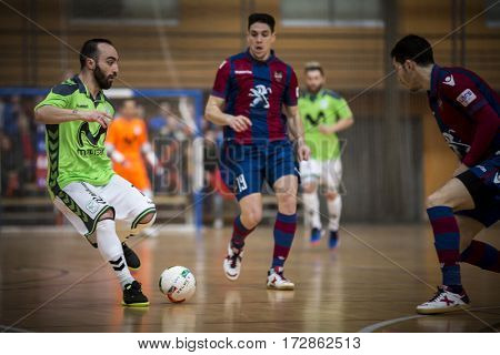 VALENCIA, SPAIN - FEBRUARY 19: (L) Ricardinho, Pizarro during Spanish league match between Levante UD FS and Movistar Inter at Cabanyal Stadium on February 19, 2017 in Valencia, Spain