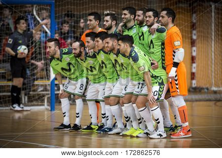 VALENCIA, SPAIN - FEBRUARY 19: Movistar Inter players during Spanish league match between Levante UD FS and Movistar Inter at Cabanyal Stadium on February 19, 2017 in Valencia, Spain