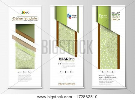 Set of roll up banner stands, flat design templates, abstract geometric style, modern business concept, corporate vertical vector flyers, flag banner layouts. Green color background with leaves. Spa concept in linear style. Vector decoration.