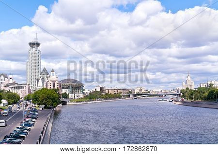 RUSSIA MOSCOW -- June 18.2014: Moscow International House of Music by the river Moskva
