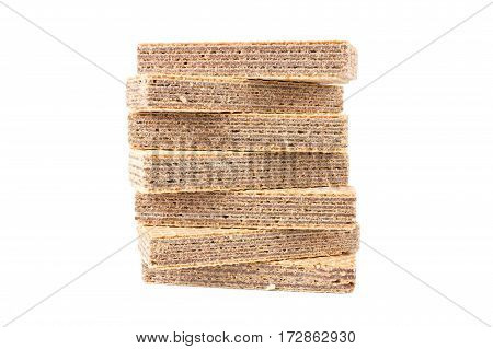 Chocolate wafers are isolated on a white background