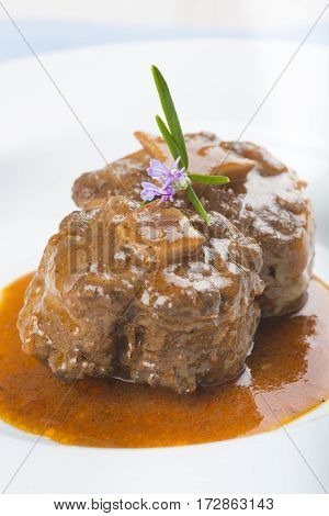 Oxtail Stew Decorated With Rosemary Flowers
