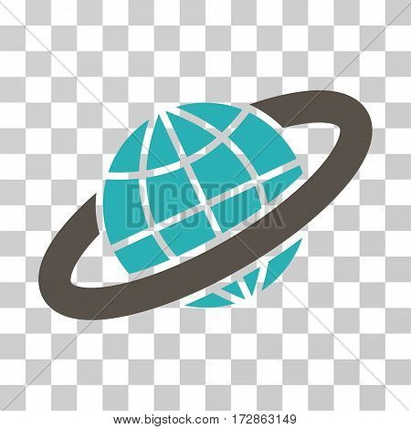 Planetary Ring vector pictogram. Illustration style is flat iconic bicolor grey and cyan symbol on a transparent background.