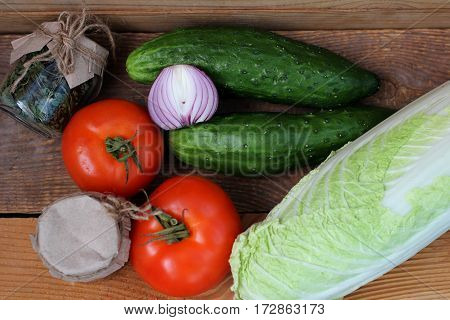 Food: Fresh vegetables and spices for cooking