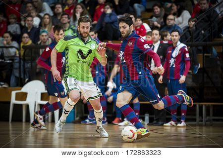 VALENCIA, SPAIN - FEBRUARY 19: (L) Pola and Lucho during Spanish league match between Levante UD FS and Movistar Inter at Cabanyal Stadium on February 19, 2017 in Valencia, Spain