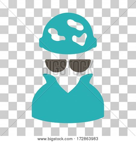 Spotted Spy vector icon. Illustration style is flat iconic bicolor grey and cyan symbol on a transparent background.