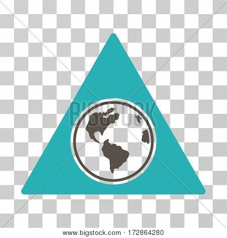 Terra Triangle vector pictograph. Illustration style is flat iconic bicolor grey and cyan symbol on a transparent background.
