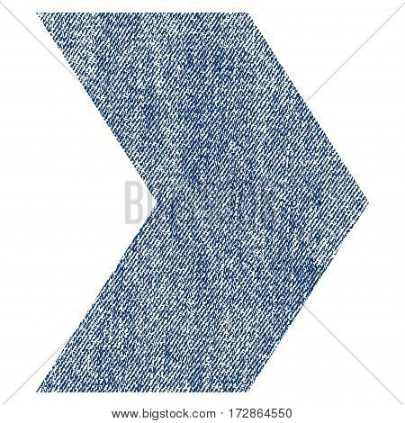 Direction Right vector textured icon for overlay watermark stamps. Blue jeans fabric vectorized texture. Symbol with scratched design. Blue ink rubber seal stamp with fiber textile structure.
