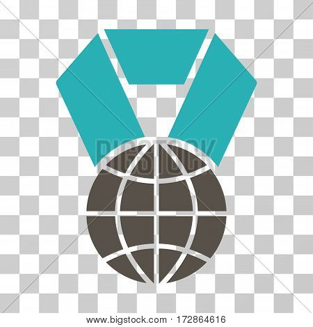 World Award vector pictogram. Illustration style is flat iconic bicolor grey and cyan symbol on a transparent background.