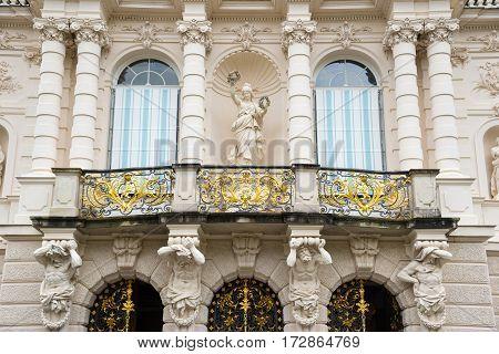 Detail Of Facade Of King Ludwig Ii Linderhof Castle In Bavaria, Germany