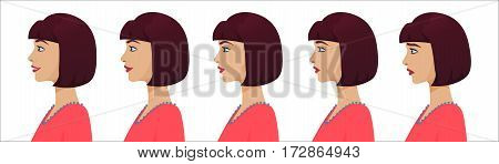 Female profile avatar expressions set. Woman facial profile emotions from sadness to happiness