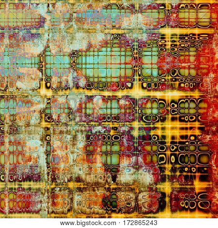 Retro vintage style background or faded texture with different color patterns: yellow (beige); green; blue; red (orange); purple (violet); cyan