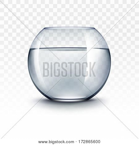 Vector Realistic Blue Transparent Shiny Glass Fishbowl Aquarium with Water without Fish Isolated on White Background
