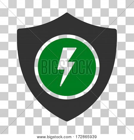 Electric Guard vector pictogram. Illustration style is flat iconic bicolor green and gray symbol on a transparent background.